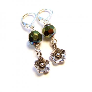 Green Czech Glass Bead w/ Silver Flower Charm Dangle Earrings