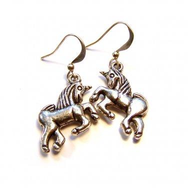 Unicorn Charm Handmade dangle silver tone earrings