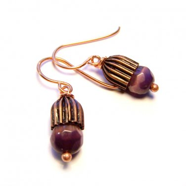 Handmade Purple Cat's Eye Glass Bead Copper Dangle Earrings