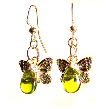 Handmade Green Glass Bead w/ Butterfly Charm Silver Tone Dangle Earrings