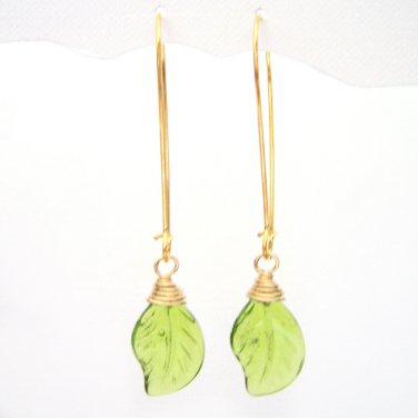 Green leaf glass bead wire wrapped gold plated dangle earrings