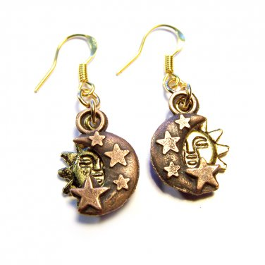 Handmade Sun & Moon Charm Copper and gold plated earrings