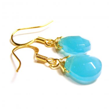 Handcrafted ocean blue glass beads 14k gold plated dangle earrings