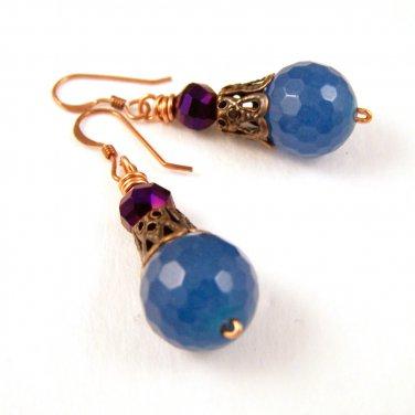 Blue Jade gemstone bead w/ purple Czech glass beads copper dangle earrings
