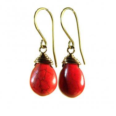Handmade red Howlite gemstone beads copper dangle earrings