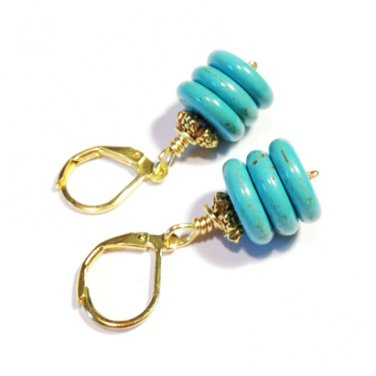 Handmade Howlite Turquoise beads gold plated earrings