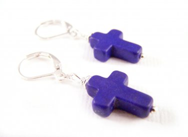 Indigo blue Cross symbol Howlite gemstone silver earrings