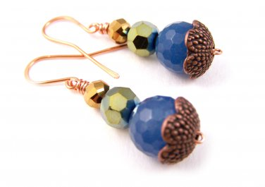 Blue Jade Gemstone, Czech Glass Beads Copper Dangle Earrings