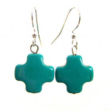 Cross symbol Howlite gemstone beads handmade earrings