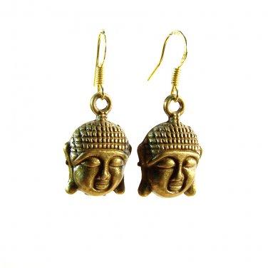 Handmade Brass Buddha Face Charm Gold Plated Dangle Earrings