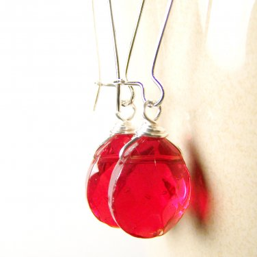 Holiday-Color Handmade Red Glass Bead Silver Earrings