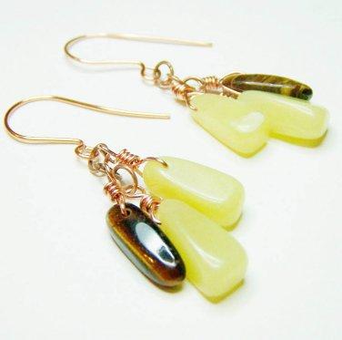 Handmade olive jade w/ tiger eye copper dangle earrings