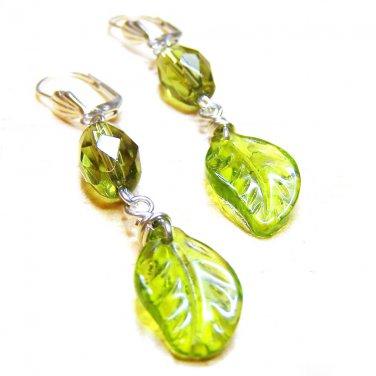 Handmade Green glass bead silver dangle earring