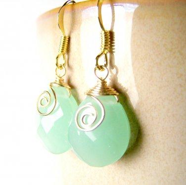 Handmade Green Faceted Glass Briolette Gold Plated Dangle Earrings