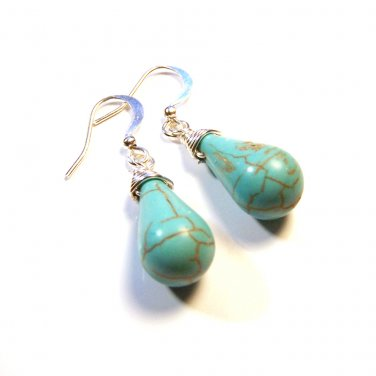 Unique Handmade Turquoise gemstone briolette silver plated dangle earrings