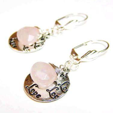 Rose quartz gemstone w/ love charm wire wrapped silver earring