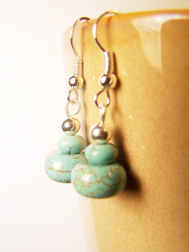 Handmade Turquoise (Magnesite) Silver Plated Dangle Earrings