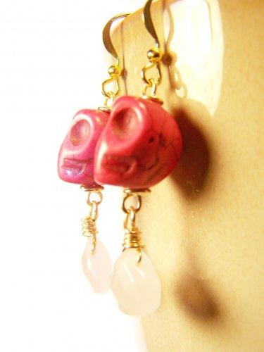 Pink Skull Turquoise w/ Rose Quartz Gemstone Gold Plate Earrings