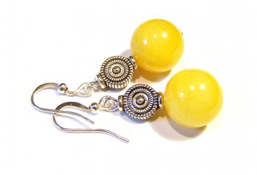 Handmade Yellow Resin Bead Silver Plated Dangle Earrings