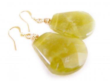 Jade Gemstone Briolette Gold Plated Earrings