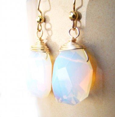 White Opal Gemstone Briolette Gold plated handmade Earrings