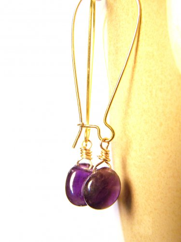 Handmade Authentic Amethyst gemstone Gold Plated Dangle Earrings