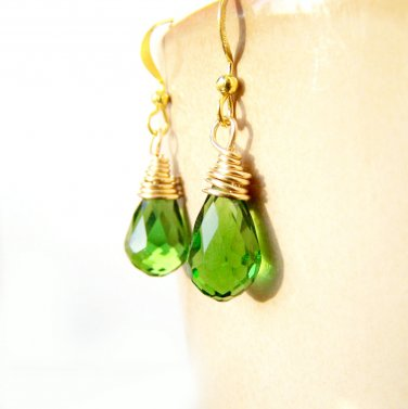 Handmade Green Glass Teardrop Gold Plate Wire Wrapped Earrings