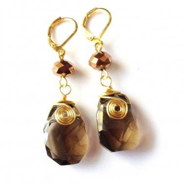 Handmade Smokey Quartz & Chocolate Czech Glass Gold Tone Drop Earrings