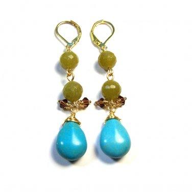 Handmade Green Jade & Howlite Turquoise Gemstone Gold Tone Drop Earrings