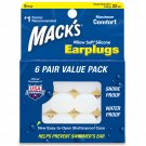 Mack's Pillow Soft Silicone Ear Plugs 6 Pair White Carrying Case Swimming Diving
