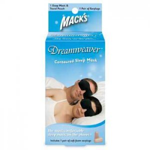Mack's Dreamweaver Sleep Mask Air Travel Daytime Nap Unisex Black Pouch