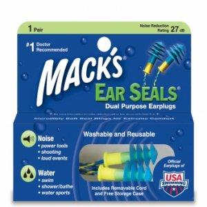 Mack's Ear Seals Earplugs Ear Plugs 1 Pair Carrying Case Cord Swimming Noise