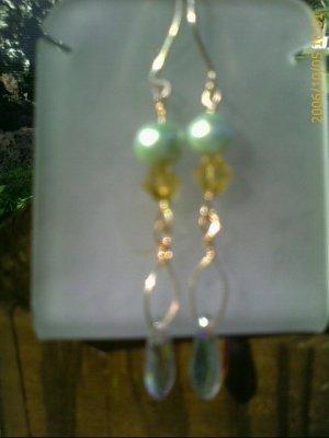 14K Gold Filled Peridot Green Freshwater Pearl, Topaz Crystal Drop Earring