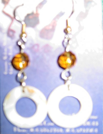White Circular Shell Earrings with Topaz Brown Glass Crystal and Surgical Steel Findings