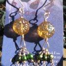 14k GF Topaz Brown Glass Flower Bead, Green Freshwater Pearl Earrings