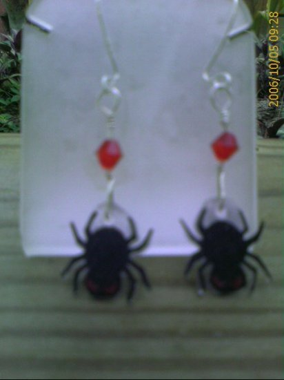 Sterling Silver Black Spider Red Crystal Earrings