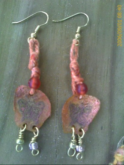 Hippy Hemp Embossed Butterfly Earrings with Orange Beads