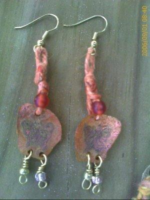 Hippy Hemp Embossed Butterfly Earrings with Orange Beads