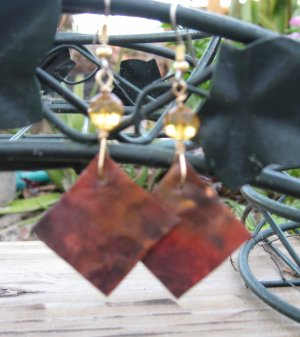 Natural Shades of Burnt Sienna, Brown and Red Copper Triangle Earrings