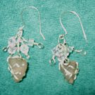 Sterling Silver wrapped  Pink Sea Glass Earring, Clear, Pink Crystals