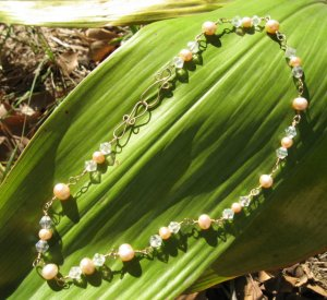 High Quality Rated  Champagne and Peach Pearls Necklace with 14k Gold Fill, Glass Crystal Bicones