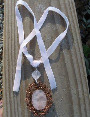 Pink Velvet Ribbon Necklace, Crocheted Copper Wire Bezel Rose Quartz