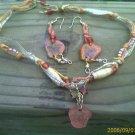 Hippy Hemp Butterfly Necklace-Ribbon, Genuine Jasper Stars,Glass, Crystal