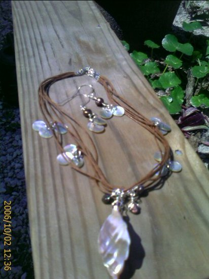 Mother of Pearl, Brown Freshwater Pearl Sterling Silver Necklace