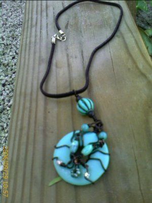 Black Wire Turquoise Blue Donut  Suede Necklace