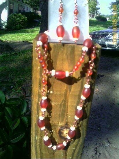 Orange-Amber Wire, Orange-Amber and White Acrylic Bead Necklace, Earrings, Bracelet Set