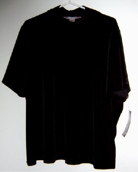 "New t-shirt stretch black velvet 3X ""Tanjay"" by NYGARD"