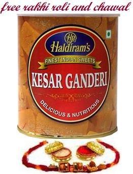 Hadirams Kesar Ganderi + Rakhi Kit