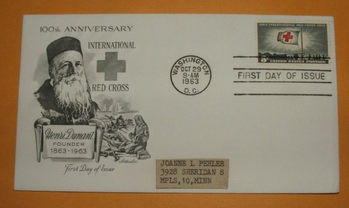 100th Anniversary of the International Red Cross First Day Cover 1963 by Artmaster (Addressed)