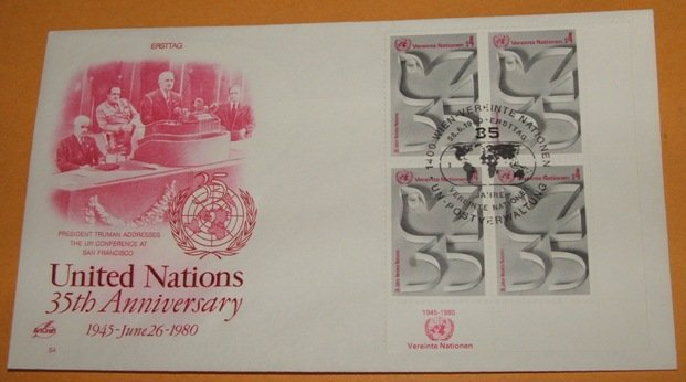United Nations 35th Anniversary 1980 (Plate Block of 4) First Day Cover, FDC